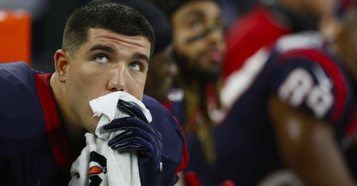 Houston Texans tight end Ryan Griffin (84) reacts during the fourth quarter of an NFL football game at NRG Stadium on Sunday, Oct. 8, 2017, in Houston. ( Brett Coomer / Houston Chronicle )