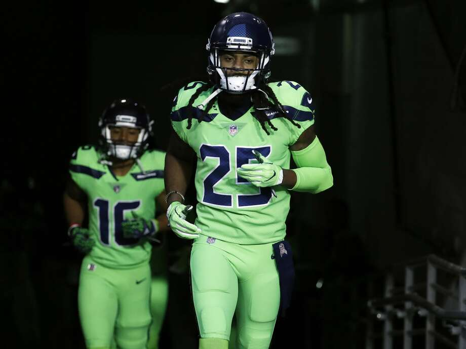 Seattle Seahawks cornerback Richard Sherman (25) takes the field prior to an NFL football game against the Arizona Cardinals, Thursday, Nov. 9, 2017, in Glendale, Ariz. (AP Photo/Rick Scuteri) Photo: Rick Scuteri/AP