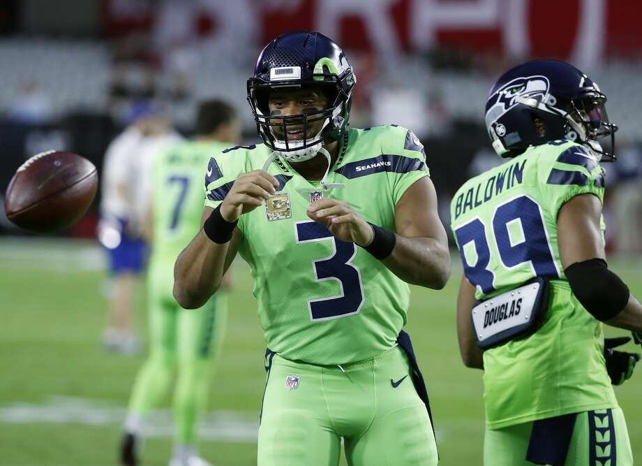 Seattle Seahawks quarterback Russell Wilson (3) warms up prior to an NFL football game against the Arizona Cardinals, Thursday, Nov. 9, 2017, in Glendale, Ariz. (AP Photo/Rick Scuteri) Photo: Rick Scuteri/AP