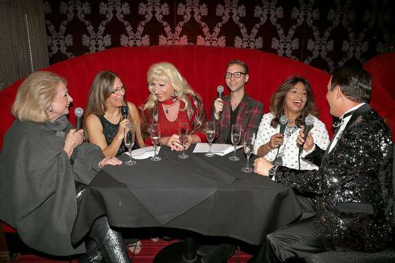 Left to right--Socialite Sally Debenham, reporter Carolyne Zinko, drag queen Donna Sachet, reporter Tony Bravo, stylist Sheree Chambers of Wilkes Bashford clothing store, and luxury real estate agent and partygoer Joel Goodrich at the Starlight room discussing holiday dress on Thursday, November 2, 2017, in San Francisco, Calif.