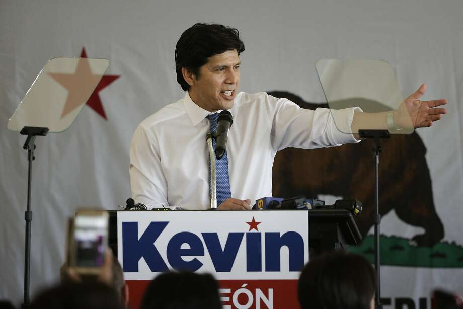 State Sen. Kevin de Leon addresses supporters during an event held to formally announce his run for U.S. Senate last month. Photo: Jae C. Hong, Associated Press