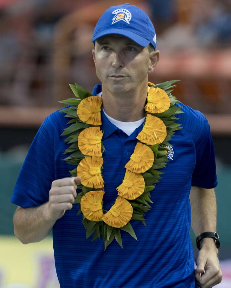 San Jose State coach Brent Brennan takes the field before an NCAA college football game between San Jose State and Hawaii, Saturday, Oct. 14, 2017, in Honolulu. (AP Photo/Eugene Tanner) Photo: Eugene Tanner, Associated Press