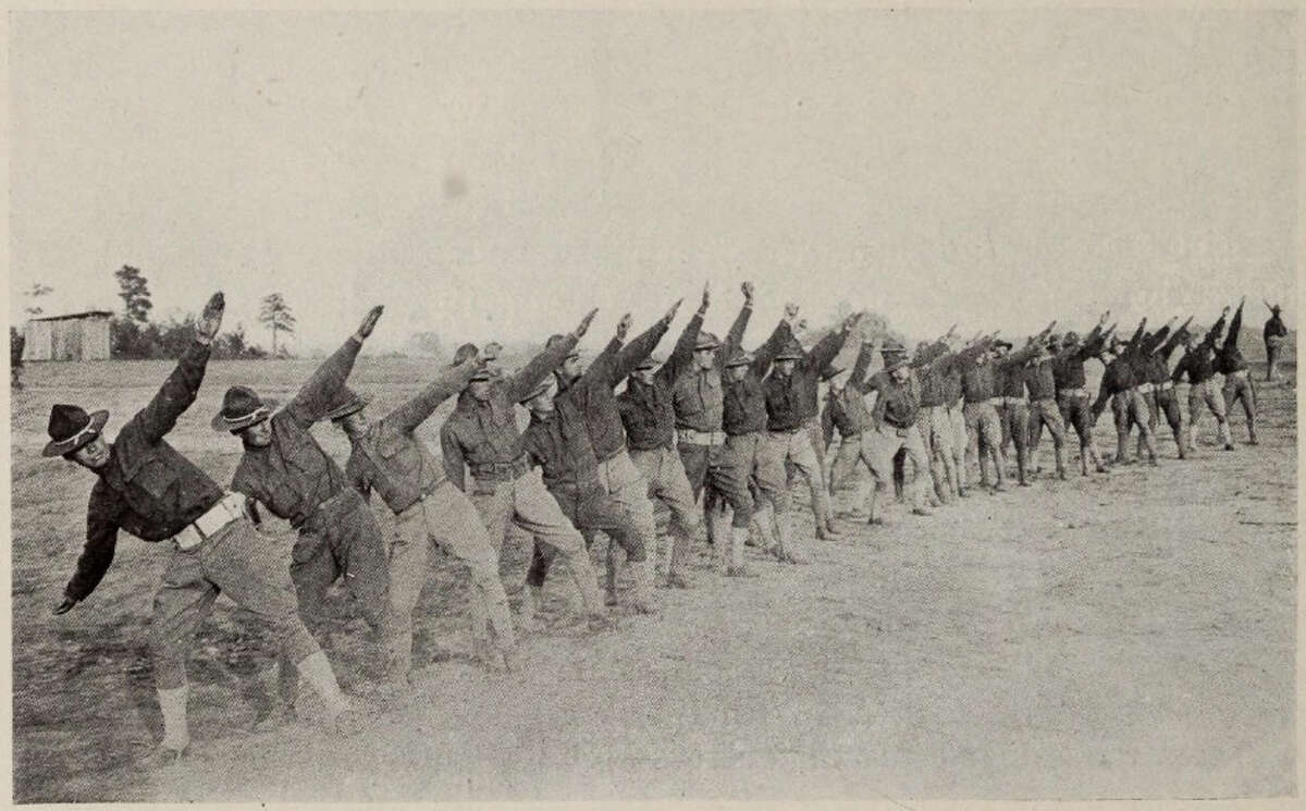 New York National Guard soldiers of the 27th Division conduct grenade throwing practice while training at Camp Wadsworth, S.C. in 1917. ( From