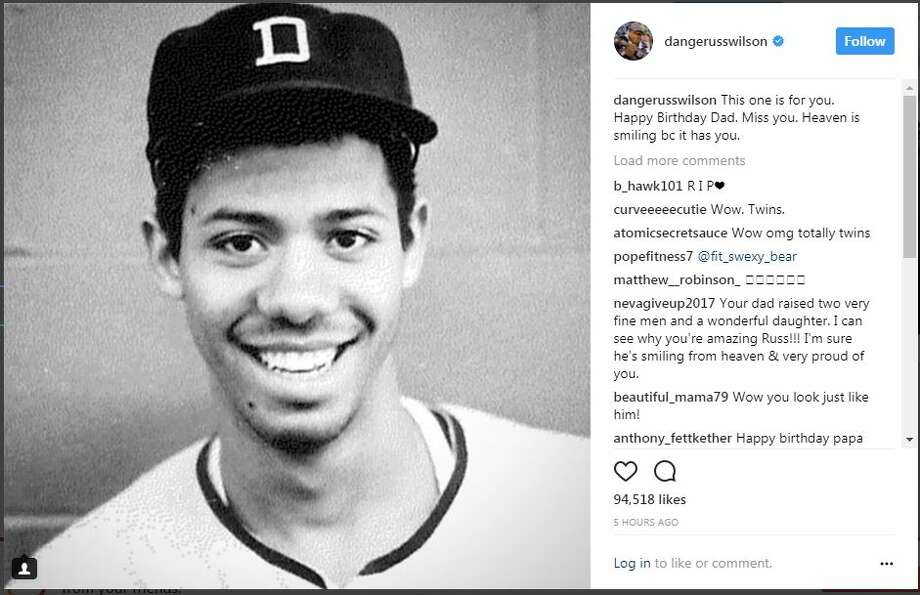 Russell Wilson posts an Instagram photo of his tribute to his late father, who would have turned 63 years old on Thursday. Photo: RUSSELL WILSON/INSTAGRAM