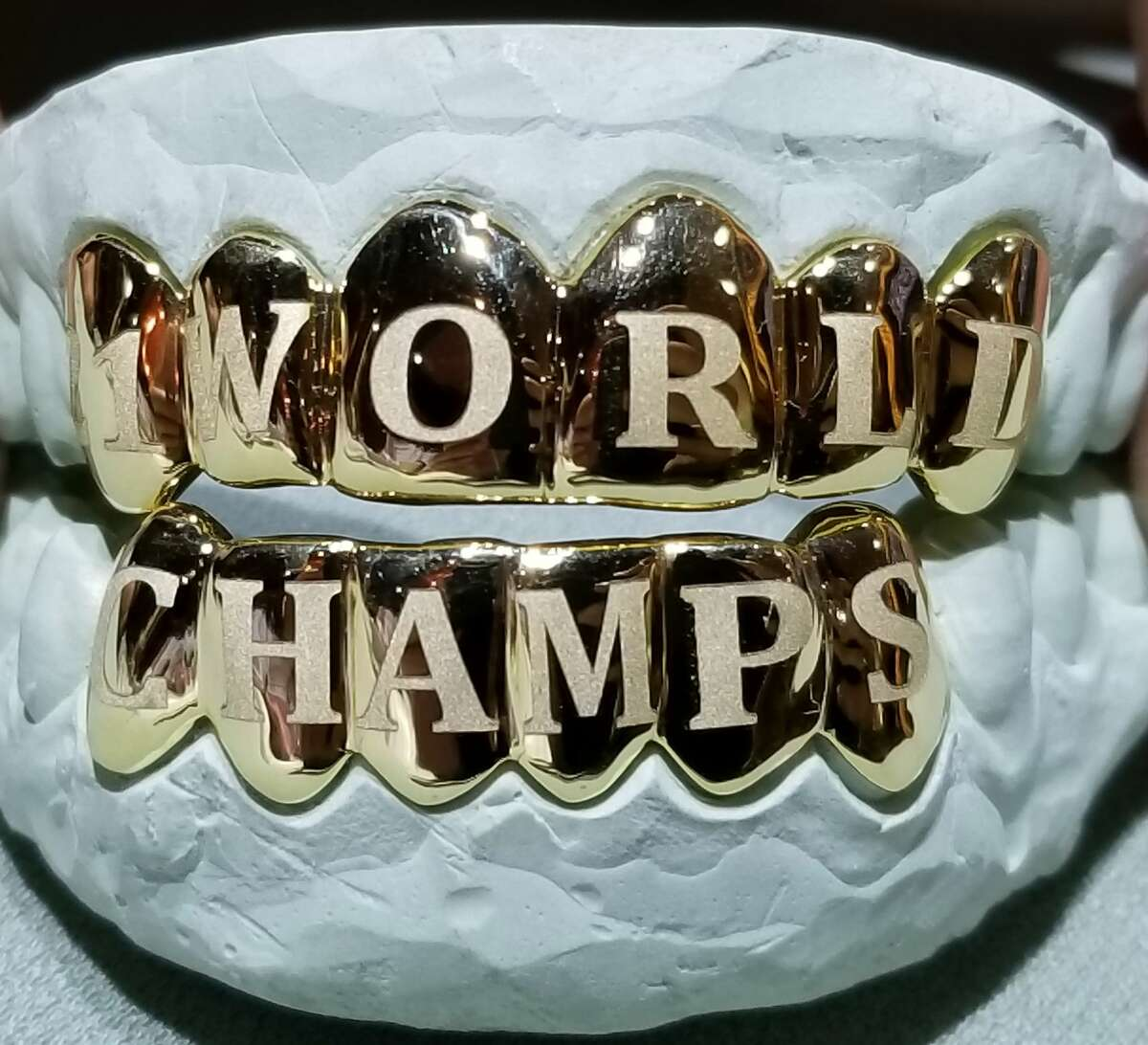 The World Series grill made by Johnny Dang & Co. for Astros left fielder Derek Fisher.