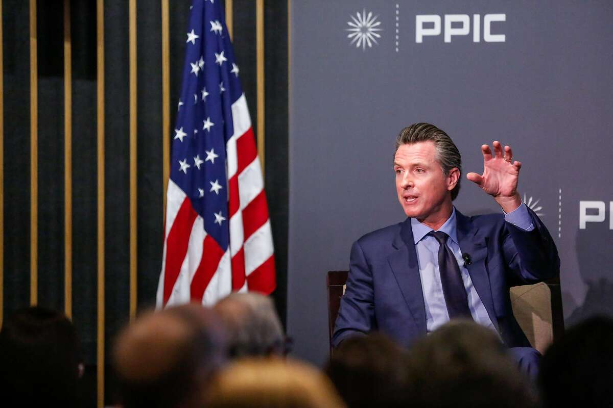 Lt. Gov. Gavin Newsom speaks with Mark Baldassare at the Public Policy Institute of California. The Democratic candidate for governor said he would be willing to make the hard choices needed.