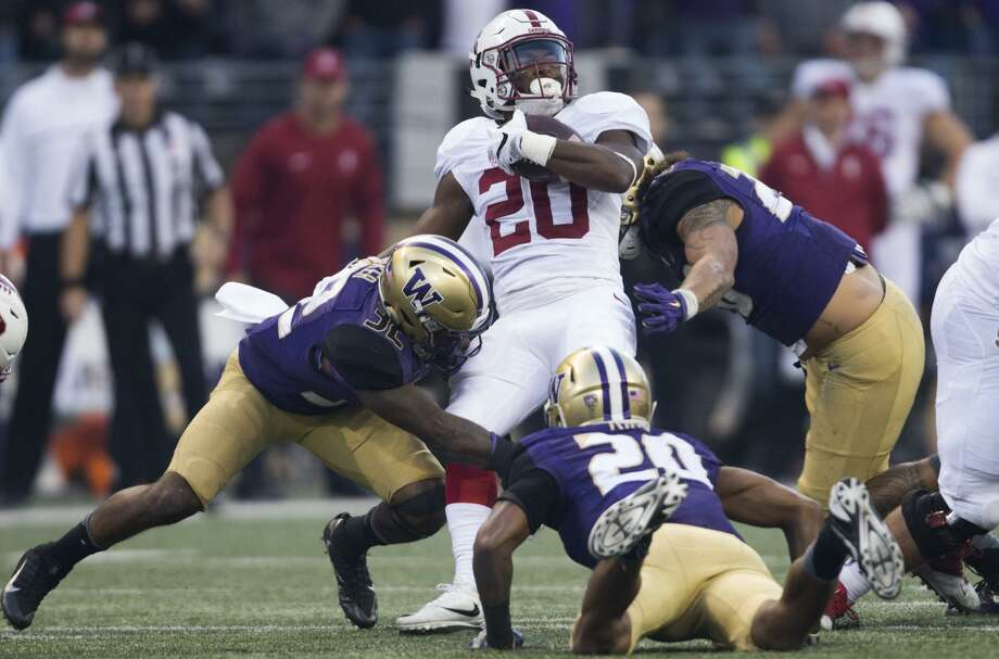 Stanford back Bryce Love, who got the ball only twice in last season's 44-6 loss at  Washington, gets another shot Friday at the Huskies. Photo: GRANT HINDSLEY / Grant Hindsley / Seattle PI.com 2016 / SEATTLEPI.COM
