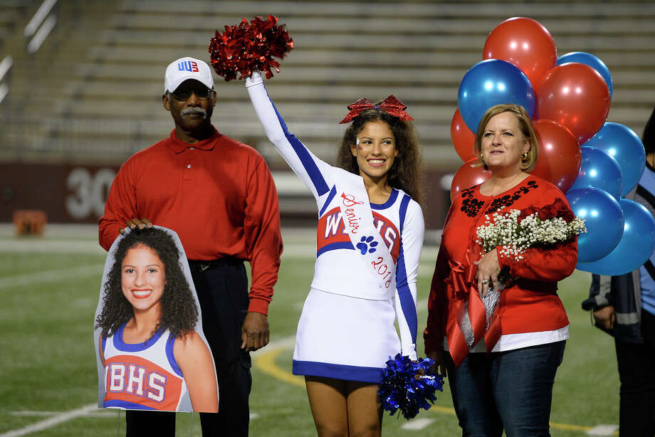 West Brook's senior cheerleaders are honored for senior night before the game against Conroe at the Thomas Center on Thursday night.  Photo taken Thursday 11/9/17 Ryan Pelham/The Enterprise Photo: Ryan Pelham / ©2017 The Beaumont Enterprise/Ryan Pelham
