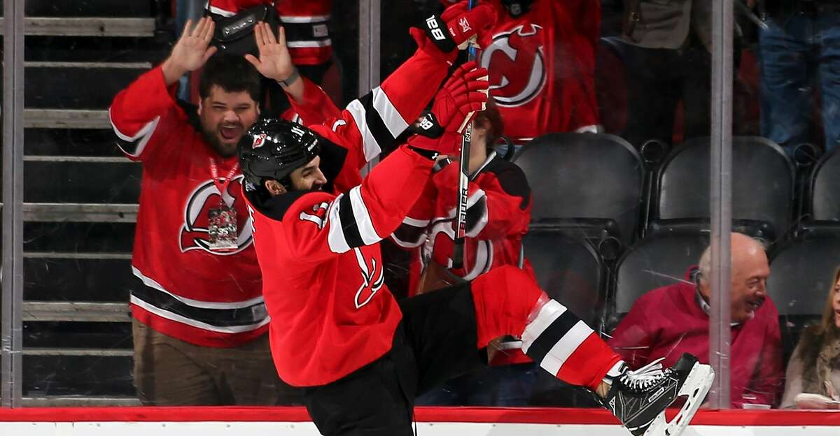 NEWARK, NJ - NOVEMBER 09: Brian Boyle #11 of the New Jersey Devils celebrates his goal in the first period against the Edmonton Oilers on November 9, 2017 at Prudential Center in Newark, New Jersey. (Photo by Elsa/Getty Images)