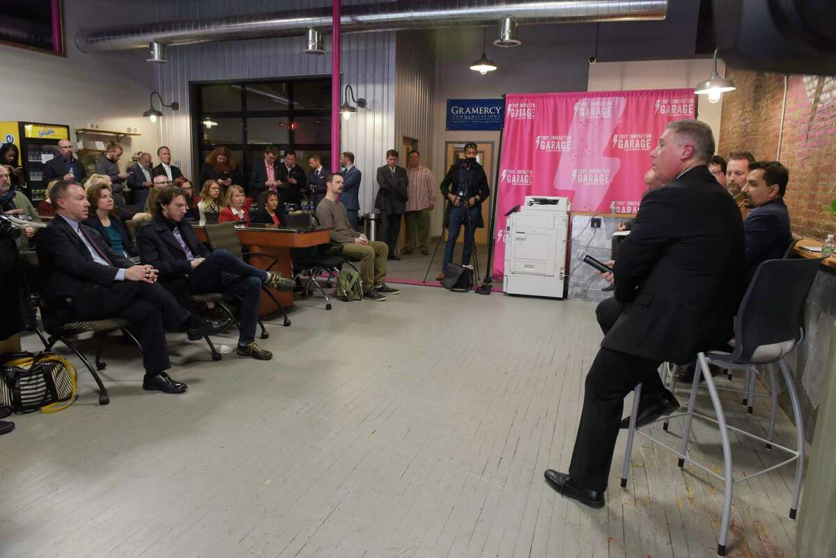Assemblyman John McDonald III, foreground right, takes part in a meeting to discuss video game industry tax credits on Thursday, Nov. 9, 2017, at the Troy Innovation Garage in Troy, N.Y. (Paul Buckowski / Times Union)