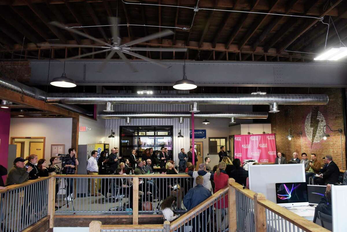 People gather to take part in a meeting to discuss video game industry tax credits on Thursday, Nov. 9, 2017, at the Troy Innovation Garage in Troy, N.Y. (Paul Buckowski / Times Union)