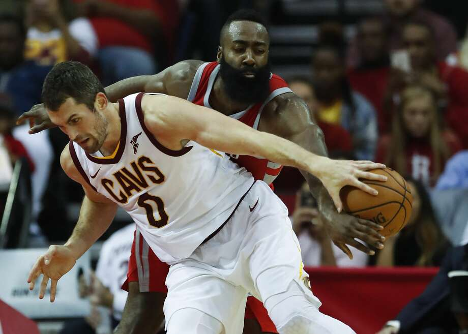 Houston Rockets guard James Harden (13) steals the ball away from Cleveland Cavaliers forward Kevin Love (0) during the first half of an NBA basketball game at Toyota Center on Thursday, Nov. 9, 2017, in Houston. ( Brett Coomer / Houston Chronicle ) Photo: Brett Coomer/Houston Chronicle