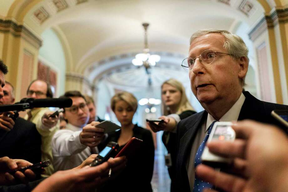 Senate Majority Leader Mitch McConnell talks to journalists about Alabama Senate candidate Roy Moore on Thursday in Washington. Photo: Washington Post By Melina Mara / The Washington Post