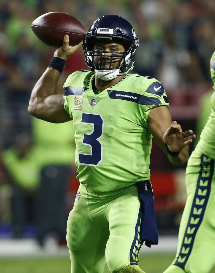 Seattle Seahawks quarterback Russell Wilson (3) throws against the Arizona Cardinals during the first half of an NFL football game, Thursday, Nov. 9, 2017, in Glendale, Ariz. (AP Photo/Ross D. Franklin) Photo: Ross D. Franklin/AP