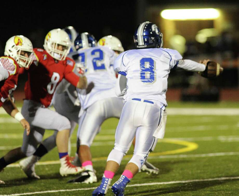 High school football game between Greenwich High School and Fairfield Ludlowe High School at Cardinal Stadium in Greenwich, Conn., Friday night, Oct. 28, 2016. Photo: Bob Luckey Jr. / Hearst Connecticut Media / Greenwich Time