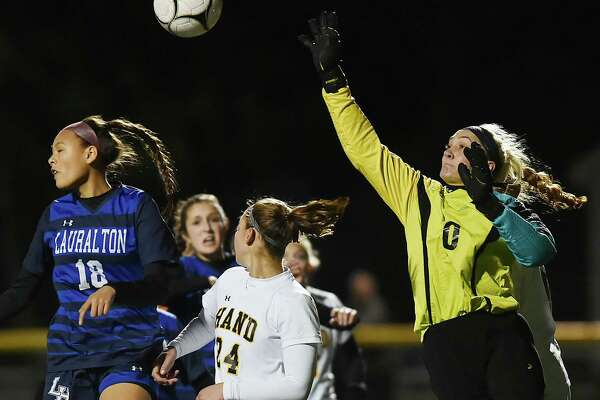 Hand defeated Lauralton Hall, 3-0, in the second round of the Class L state soccer tournament, Thursday, Nov. 9, 2017, at Strong Field at the Surf Club in Madison.