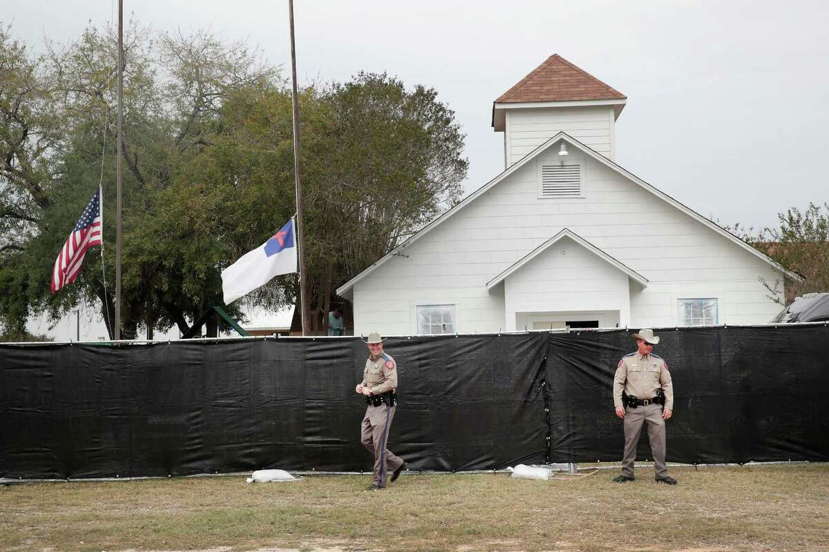 SUTHERLAND SPRINGS, TX - NOVEMBER 09: Police keep watch outside of the First Baptist Church of Sutherland Springs after it was surrounded by a tarp on November 9, 2017 in Sutherland Springs, Texas. On November 5th a gunman, Devin Patrick Kelley, opened fire during the Sunday service at the church, killing the 26 people and wounded 20 others. (Photo by Scott Olson/Getty Images) ORG XMIT: 775070965