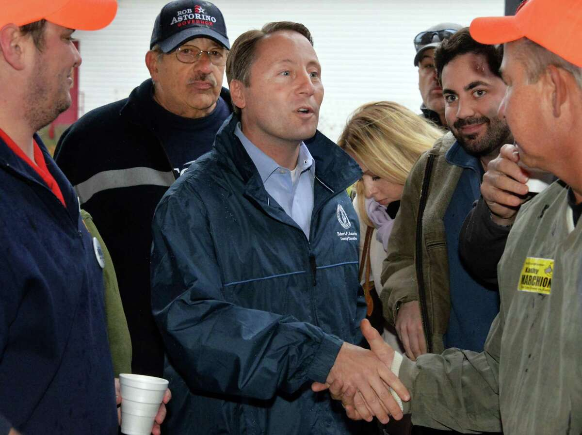 Republican gubernatorial hopeful Rob Astorino greets supporters as he arrives for a GOP rally at the Brunswick Elks Club on Saturday, Nov. 1, 2014, in Brunswick, N.Y. Days after losing his bid for re-election as Westchester County executive, Republican Rob Astorino is ruling out a second run for governor.(John Carl D'Annibale / Times Union archive)