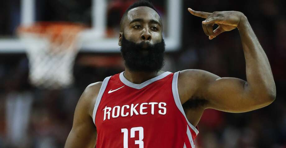 Houston Rockets guard James Harden cheers as he runs upcourt after scoring a 3-pointer against the Cleveland Cavaliers during the fourth quarter of an NBA basketball game at Toyota Center on Thursday, Nov. 9, 2017, in Houston. ( Brett Coomer / Houston Chronicle ) Photo: Brett Coomer/Houston Chronicle