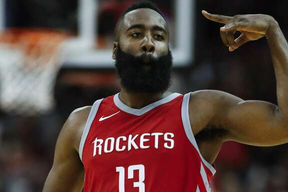 Houston Rockets guard James Harden cheers as he runs upcourt after scoring a 3-pointer against the Cleveland Cavaliers during the fourth quarter of an NBA basketball game at Toyota Center on Thursday, Nov. 9, 2017, in Houston. ( Brett Coomer / Houston Chronicle )