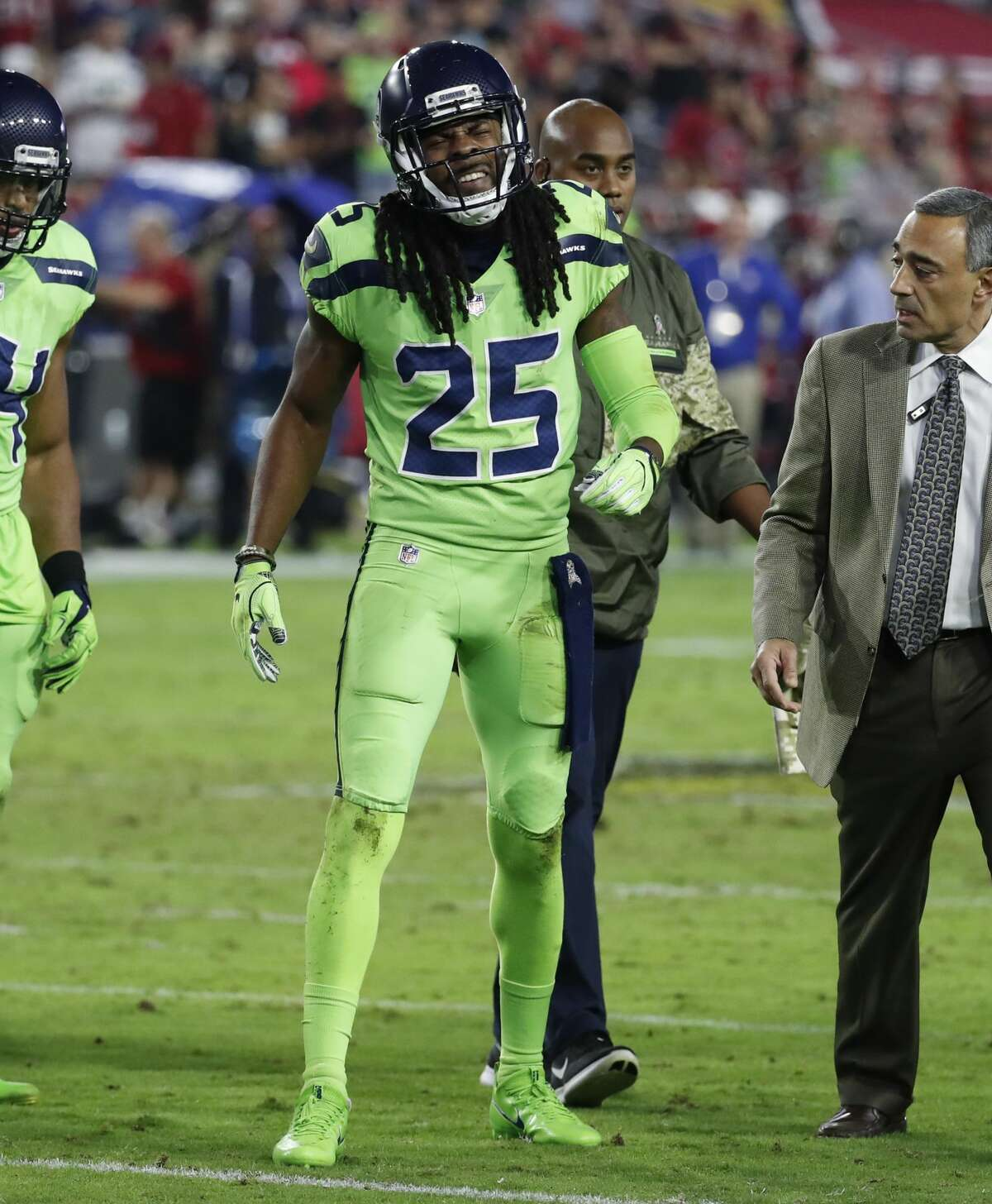 Richard Sherman limped off the field with a foot injury in the third quarter against the Arizona Cardinals.When Griffin returned, Lane came in to fill in for Sherman, who was shown on the broadcast replays seemingly telling teammates on the sideline: