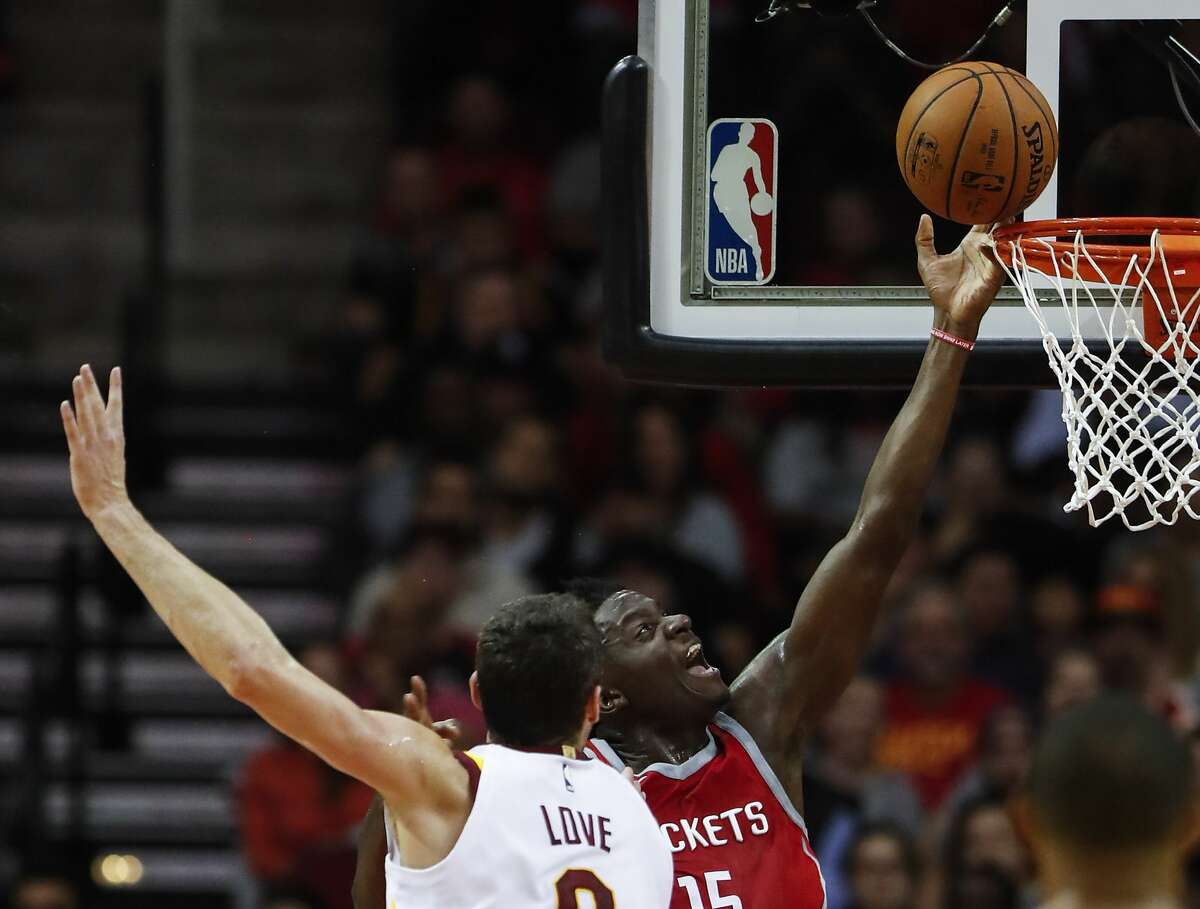 Houston Rockets center Clint Capela (15) takes a shot after he was fouled going to the basket by Cleveland Cavaliers forward Kevin Love (0) during the fourth quarter of an NBA basketball game at Toyota Center on Thursday, Nov. 9, 2017, in Houston. ( Brett Coomer / Houston Chronicle )