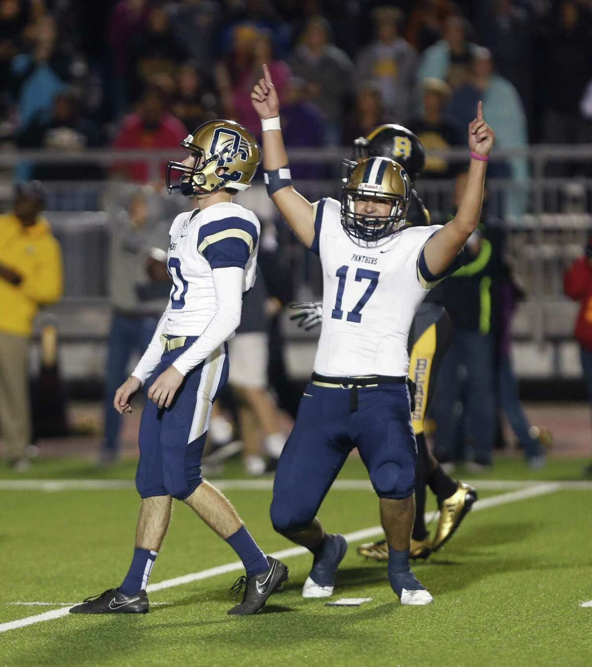 O?•Connors?• Brandon Butler celebrates after O?•Connors?• Michael Lyssy made the winning field goal in OT from the District 28-6A high school football championship game between O'Connor and Brennan on Thursday, November 9, 2017.