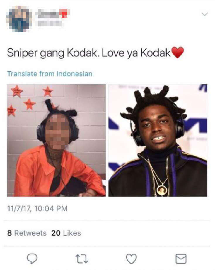 One social media post shows a United High School senior dressed in blackface as American rapper Kodak Black. Photo: Twitter