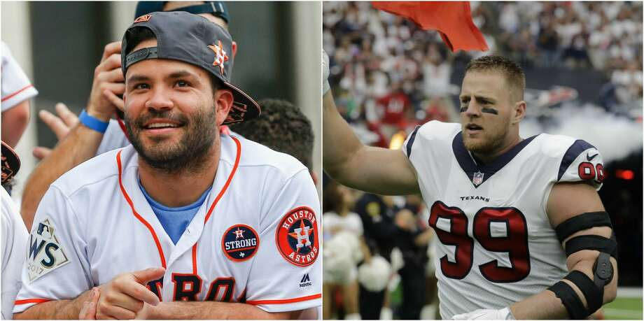 Injured Texans star J.J. Watt received an unexpected gift from Astros star Jose Altuve, thanking him for all he's done for the city this year. Photo: AP Photo/David J. Phillip And Bob Levey/Getty Images