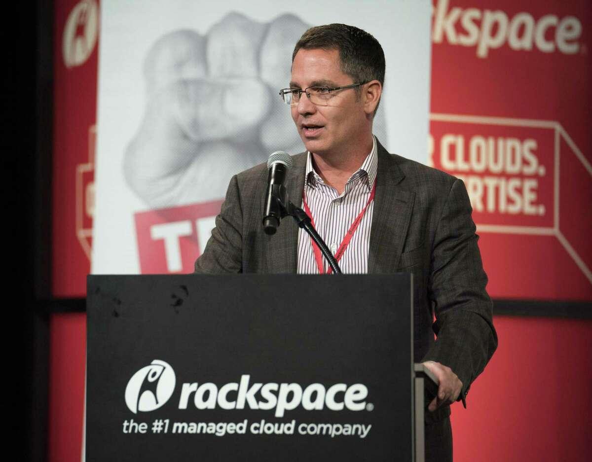 Rackspace CEO Joe Eazor speaks during the annual Tech Bloc rally, Thursday, Nov. 9, 2017, at Rackspace in San Antonio.