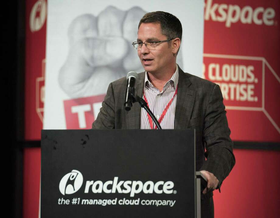Rackspace CEO Joe Eazor speaks during the annual Tech Bloc rally, Thursday, Nov. 9, 2017, at Rackspace in San Antonio. Photo: Darren Abate /Darren Abate /Express-News / San Antonio Express-News
