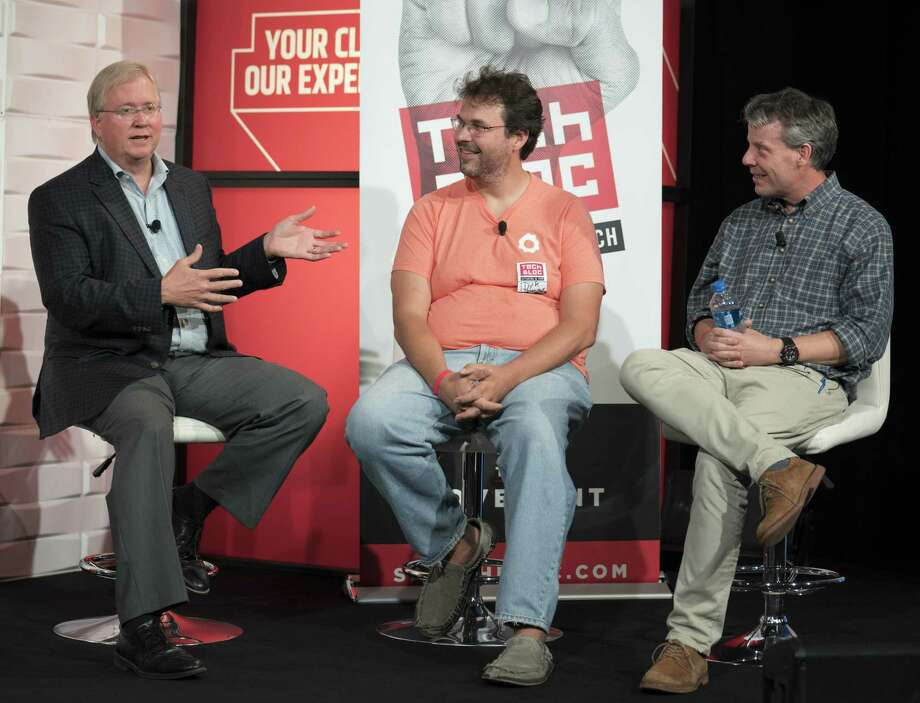 Graham Weston (from left), Dirk Elmendorf, and Lew Moorman take part in a panel discussion during the annual Tech Bloc rally, Thursday, Nov. 9, 2017, at Rackspace in San Antonio. Photo: Darren Abate /Darren Abate /Express-News / San Antonio Express-News