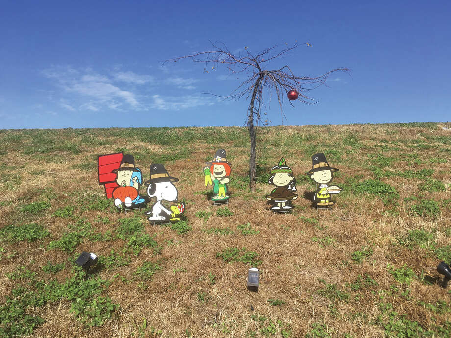 The Peanuts gang has changed costumes from Halloween to Thanksgiving. The display is on the berm on Governors' Parkway on the east side of Edwardsville. And from the looks of it, preparations are in the works for Christmas. Photo: Bill Craft • For The Intelligencer