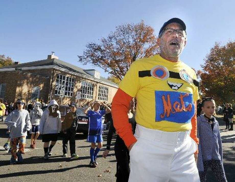 Frank Gasparino, in costume for a Halloween parade at Old Greenwich School in 2015. Photo: / Bob Luckey Jr. / Hearst Media