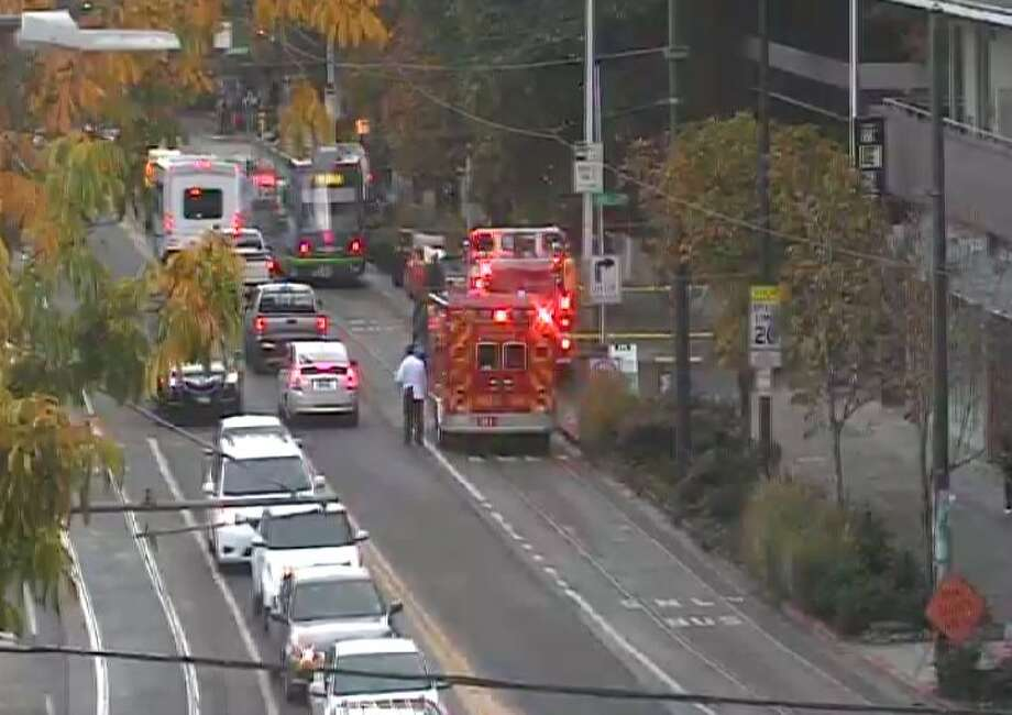 A gas leak forced street closures in South Lake Union Friday morning. Photo: WSDOT