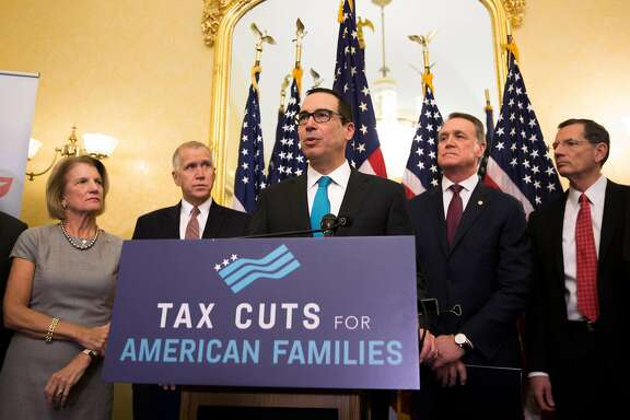 Treasury Secretary Steve Mnuchin speaks during a Senate news conference on Capitol Hill in Washington, Nov. 7, 2017. The Senate tax bill differs from last week�s House of Representatives bill on a number of important issues, including on the ability to deduct state and local taxes. (Tom Brenner/The New York Times)