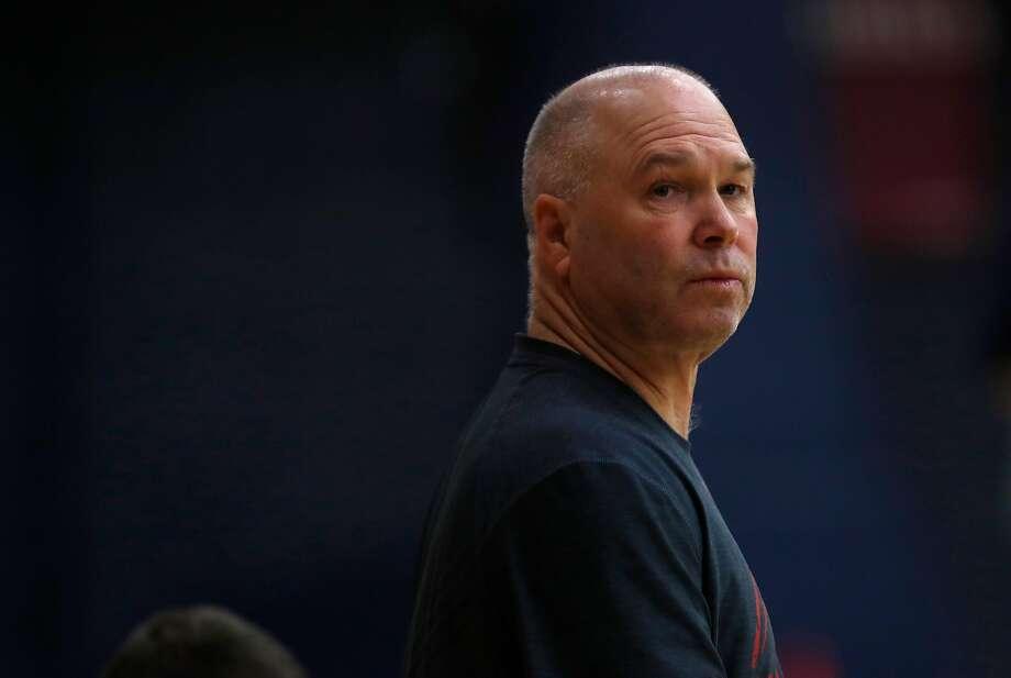 Head coach Randy Bennett during Saint Mary's basketball practice in Moraga, Ca. on Monday November 6, 2017. Photo: Michael Macor, The Chronicle