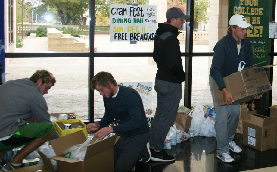 Midland College students prepare for a delivery from their annual canned food drive benefiting Disciples Food Pantry Photo: Courtesy Photo