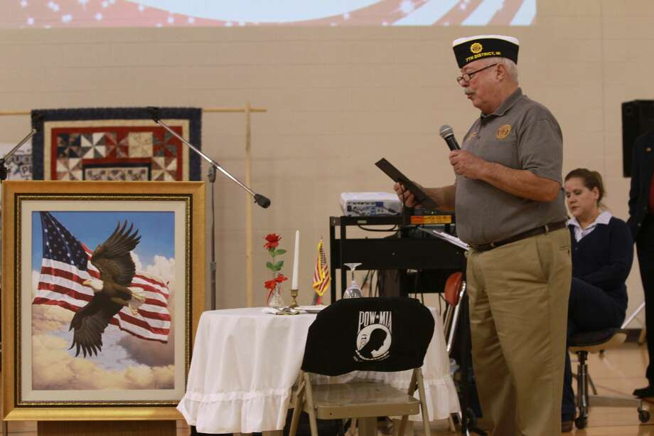 The Unionville-Sebewaing Area School District hosted a Veterans Day program for its students and local vets on Thursday. Photo: Coulter Mitchell/For The Tribune