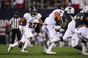 UTSA running back Tyrell Clay carries during the second half of the game against the FIU Panthers on Nov. 4 in Miami.