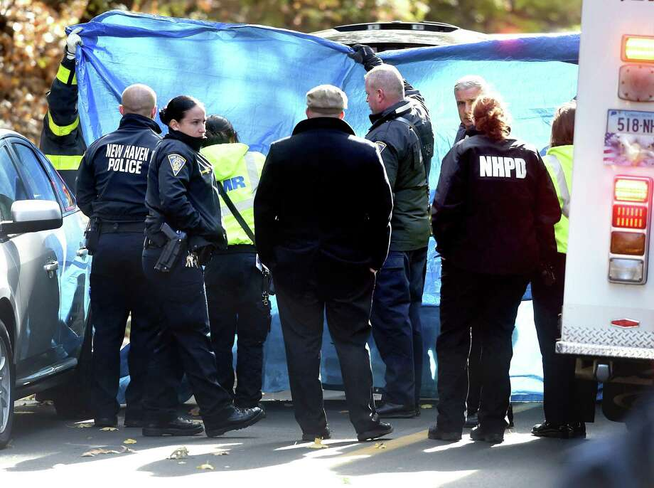 A body was found in East Rock Park on a hill near East Rock Road  in New Haven Friday. Photo: Arnold Gold / Hearst Connecticut Media / New Haven Register