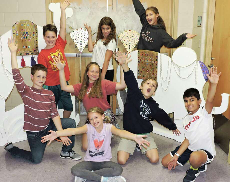 "Saxe Middle School fifth- and sixth-graders present the musical, Disney's ""Aladdin Jr."" Back row, from left: Kole Bavoso, Natalie Bukai and Alex Steinberg. Middle row: Ike Morales, Catherine Meli, Spencer Paloka and Sebastian Saridakis. Front row: Carmen Nold. Photo: Contributed Photo / New Canaan News"