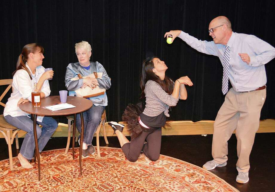 Actors Susan Stanton, of Westport, and Jacquie Carlsen, Giovanna Olcese and David Jackins, of Norwalk, bring the comedy Sylvia to life at the Darien Arts Center. Photo: Contributed Photo