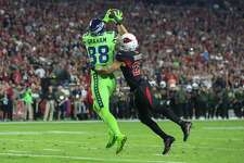 GLENDALE, AZ - NOVEMBER 09: Jimmy Graham (88) of the Seattle Seahawks catches a touch down pass on  Tyvon Branch (27) of the Arizona Cardinals during the game between the Seattle Seahawks and the Arizona Cardinals on November 09, 2017 at University of Phoenix Stadium in Glendale, AZ. (Photo by Jordon  Kelly/Icon Sportswire via Getty Images)