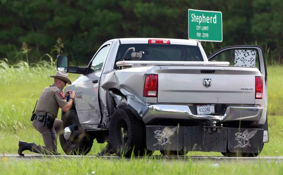 DPS Troopers investigate the scene after a high-speed chase ended on U.S. 59 North in Shepherd after Rudolfo Nuncio, 41, was arrested and found with Priscilla Martinez, Tuesday, Aug. 15, 2017, in Shepherd. An Amber Alert was issued for Martinez, 13, who was recovered safe after last being seen on Aug. 9 in Donna, Texas. Photo: Jason Fochtman, Staff Photographer / © 2017 Houston Chronicle