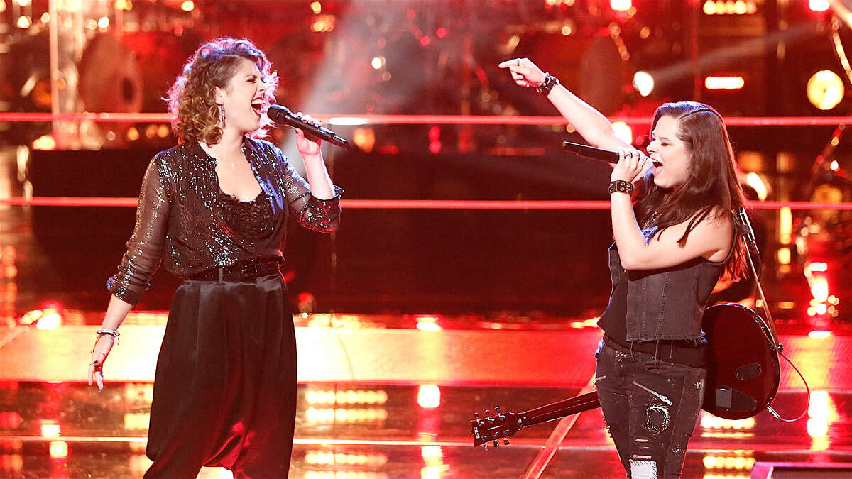 """Moriah Formica, right, performing """"American Woman"""" in a """"Battle Round"""" of """"The Voice"""" with Shilo Gold, left. (image from nbc.com)"""