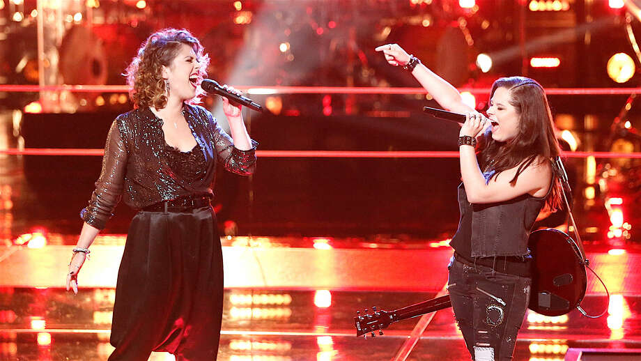 "Moriah Formica, right, performing ""American Woman"" in a ""Battle Round"" of ""The Voice"" with Shilo Gold, left. (image from nbc.com)"