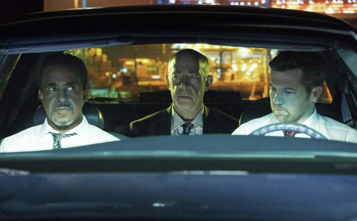 """Tim Meadows as Detective Tolbeck (left) J.K. Simmons as Leon and Patrick Brammall as Detective Cullen in """"No Activity."""""""