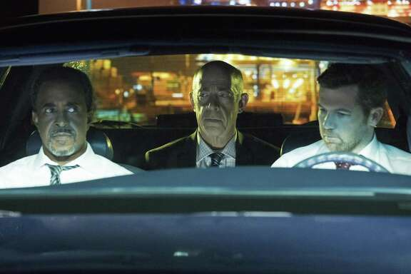"Tim Meadows as Detective Tolbeck (left) J.K. Simmons as Leon and Patrick Brammall as Detective Cullen in ""No Activity."""
