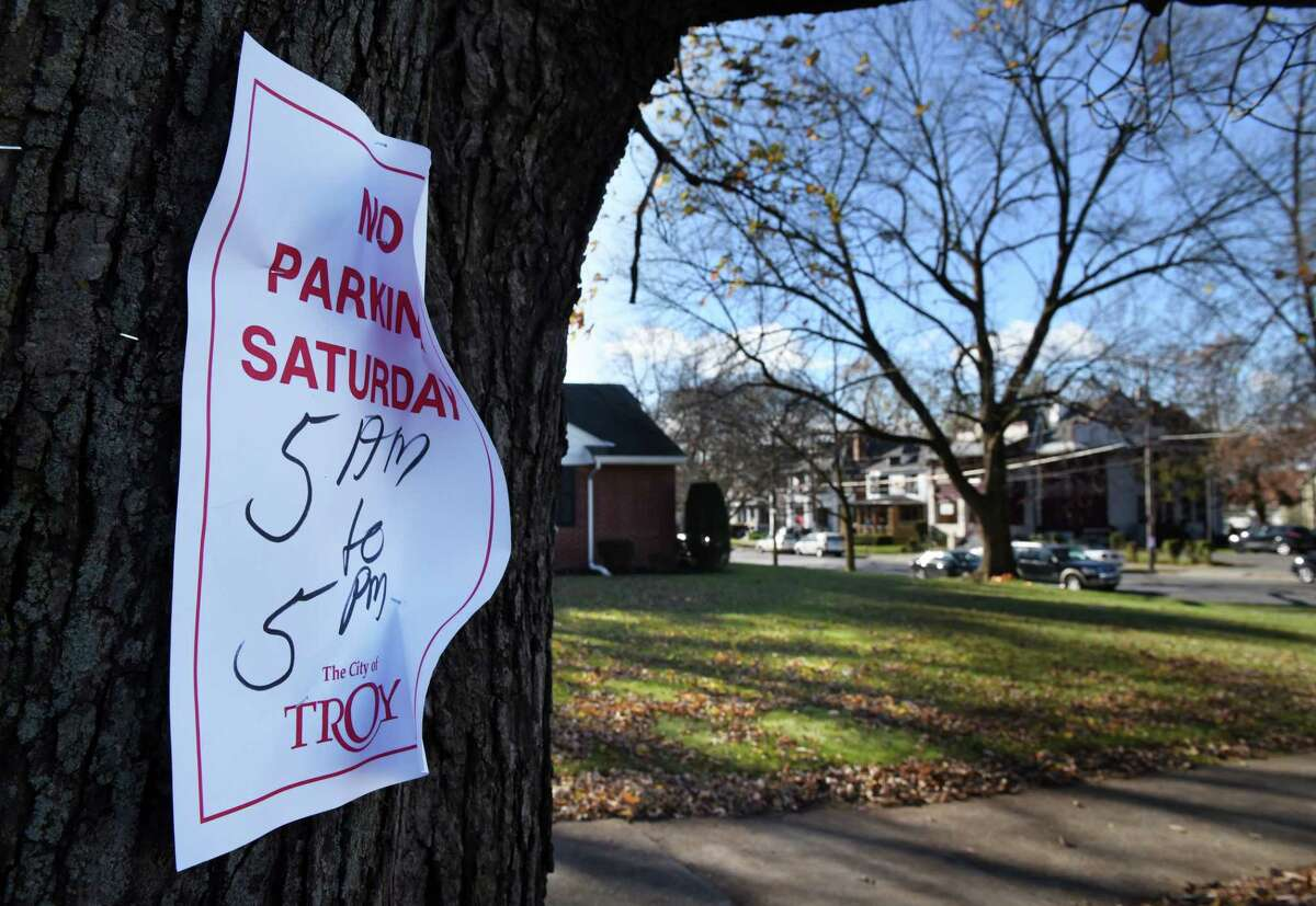 No parking signs are placed on Peoples Avenue near 15th Street where a Saturday commercial filming for the state Health Department is scheduled on Friday, Nov. 10, 2017, in Troy, N.Y. Peoples Avenue between Eaton Road and 14th Street, and 15th Street between Jacob Street and Sage Avenue, will be closed to regular vehicle traffic on Saturday, Nov. 11, beginning at 5:00 a.m. until approximately 6 p.m. (Will Waldron/Times Union)